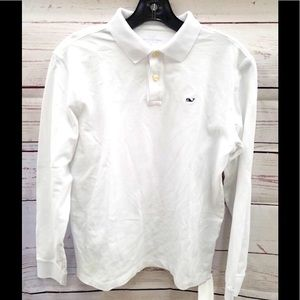 Vineyard Vines Youth XL Solid White L/S Polo